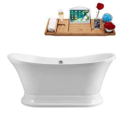 68 in. Acrylic Flatbottom Non-Whirlpool Bathtub in White