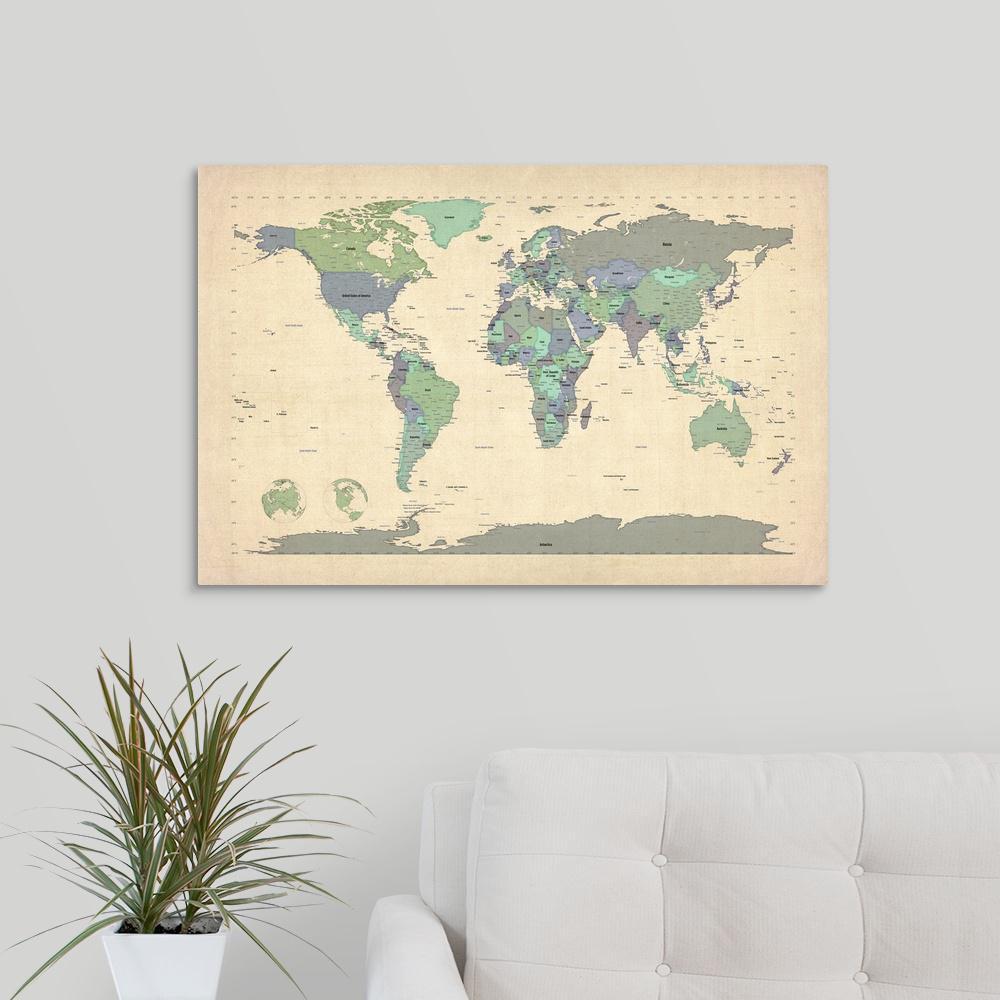 Greatbigcanvas World Map Showing Latitude And Longitude Blue By