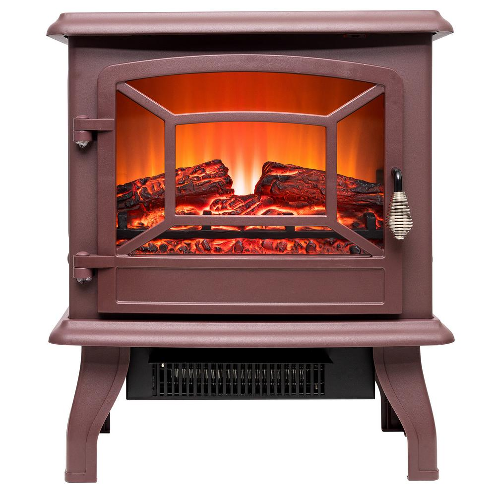17 in. 400 sq. ft. Freestanding Electric Fireplace Heater in Red