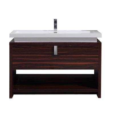 Levi 48 in. W Bath Vanity in High Gloss Rose Walnut with Reinforced Acrylic Vanity Top in White with White Basin