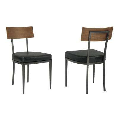 Aries Black Mineral Faux Leather Dining Chair (Set of 2)