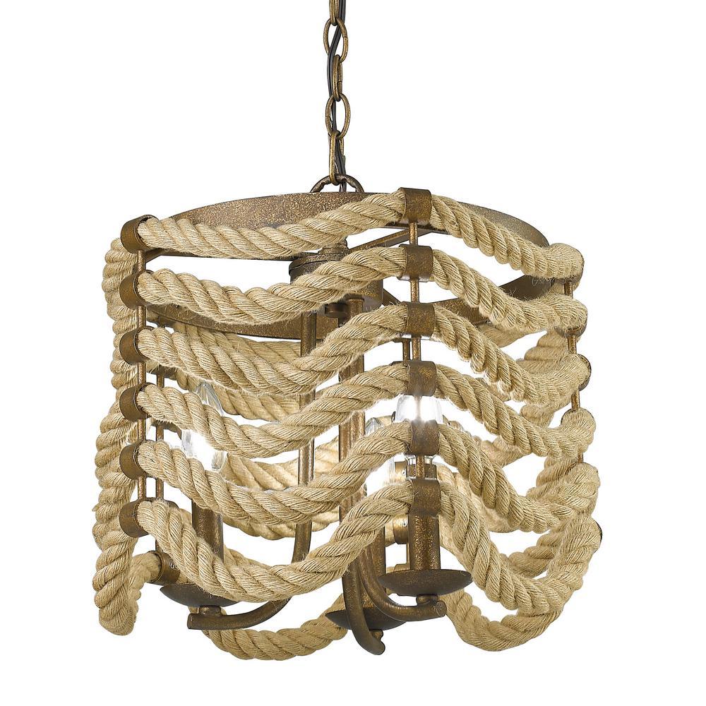 Marissa 3-Light Burnished Chestnut Drum Pendant with Rope Shade