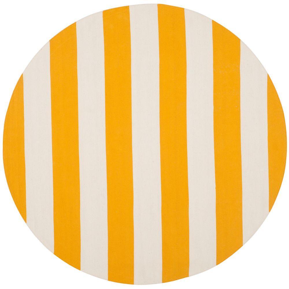 Safavieh Montauk Yellow Ivory 6 Ft X 6 Ft Round Area Rug