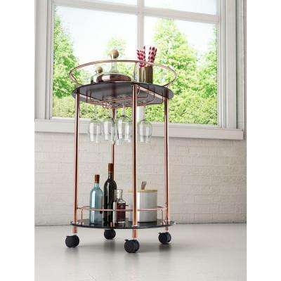 Plato Rose Gold Serving Cart with Wine Glass Storage