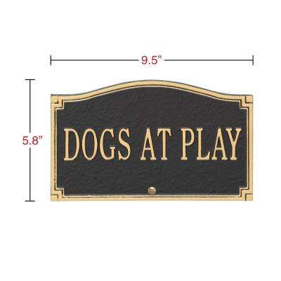 Dogs At Play Sign, Cast Aluminum - Wall or Lawn Mounting