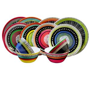 Click here to buy Gibson Almira 12-Piece Assorted Colors Dinnerware Set by Gibson.