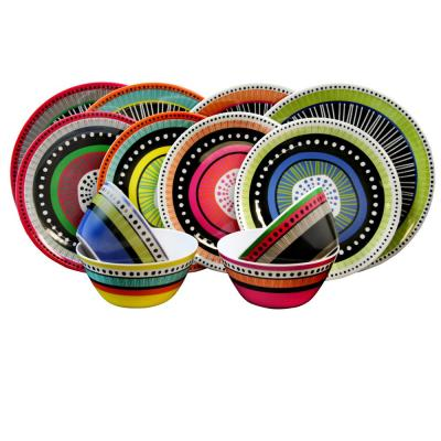 Almira 12-Piece Casual Multicolor Melamine Outdoor Dinnerware Set (Service for 4)