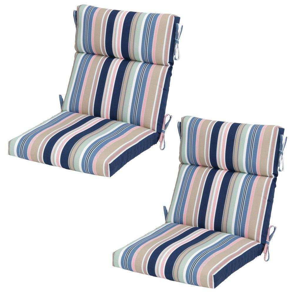 Hampton Bay Hudson Stripe Outdoor Dining Chair Cushion  (2 Pack) 7718 02225500   The Home Depot