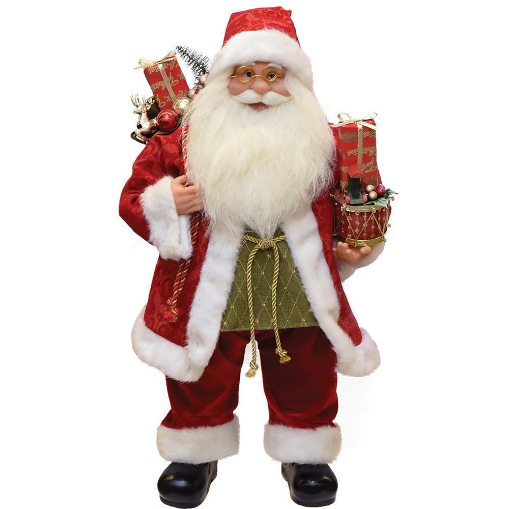 24 in. Modern Standing Santa Claus Christmas Figure with Presents and