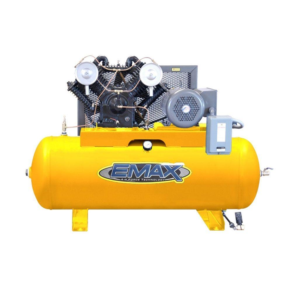EMAX 80-Gal. 7.5 HP Quiet 600 RPM Piston Series 2-Stage Industrial Horizontal Air Compressor-DISCONTINUED