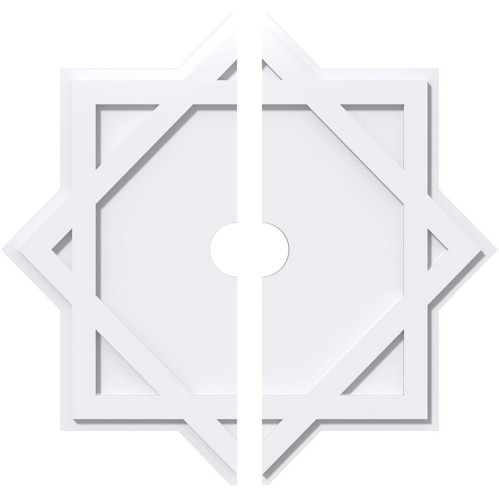 Ekena Millwork 1 in. P X 20 in. C X 36 in. OD X 4 in. ID Axel Architectural Grade PVC Contemporary Ceiling Medallion, Two Piece