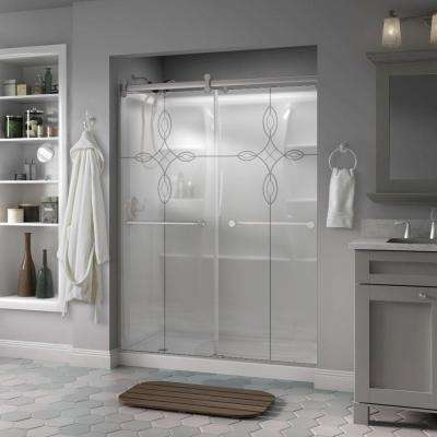 Mandara 60 in. x 71 in. Semi-Frameless Contemporary Sliding Shower Door in Nickel with Tranquility Glass