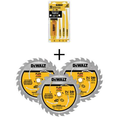 Bi-Metal Reciprocating Saw Blade Set with Case (10-Piece) w/ 7-1/4 in. 24-Teeth Carbide-Tipped Circular Saw Blade (3-Pk)