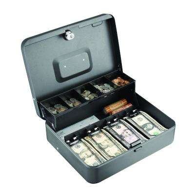 Steel Tiered Tray Cash Box Safe with Cam Key Lock and 2 Keys, Grey