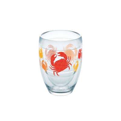 Crab Pattern 9 oz. Double-Walled Tritan Stemless Wine Glass