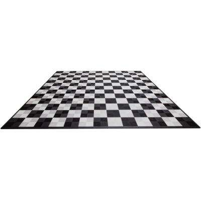 Black and White Checkered Double Car Pad Ribtrax Modular Tile Flooring (268 sq. ft. / case)