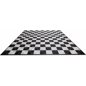 Black and White Checkered Double Car Pad Ribtrax Modular Tile Flooring (268 sq. ft./case)
