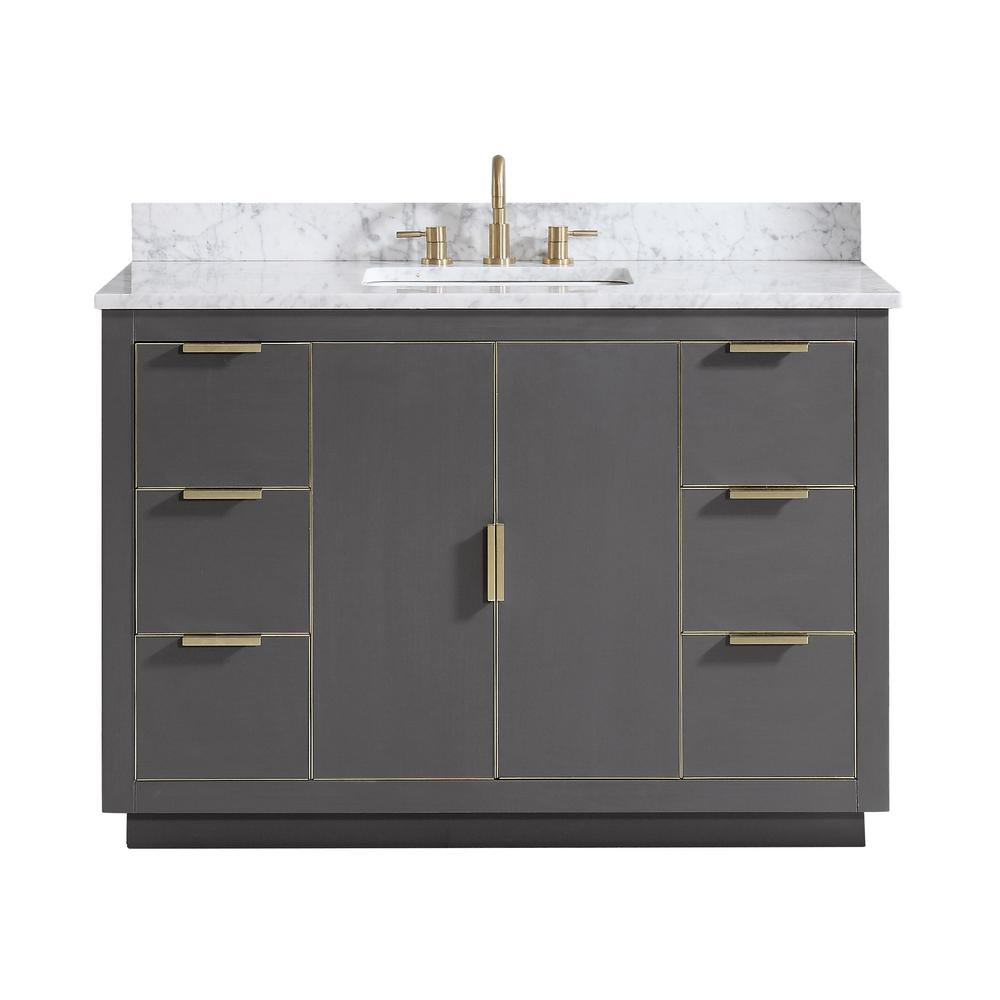 Avanity Austen 49 in. W x 22 in. D Bath Vanity in Gray with Gold Trim with Marble Vanity Top in Carrara White with Basin