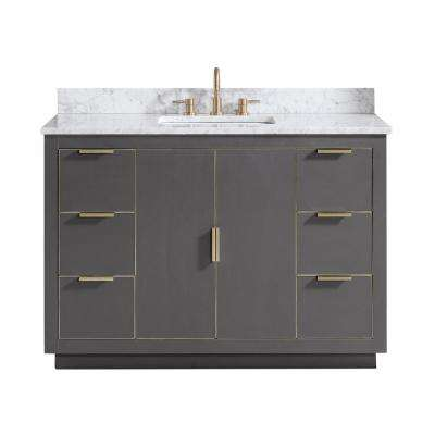 Austen 49 in. W x 22 in. D Bath Vanity in Gray with Gold Trim with Marble Vanity Top in Carrara White with Basin