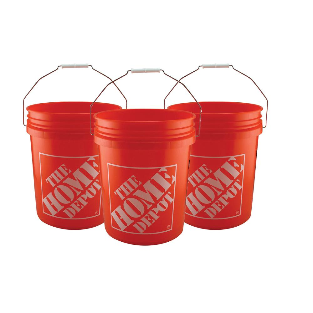 The Home Depot 5 Gal. Homer Bucket (3-Pack) The iconic Homer Bucket 5 Gal. Orange Buckets is ideal for any household or professional job. The all-purpose container is constructed for plastic for durability. Each plastic bucket is orange and features the logo of The Home Depot.