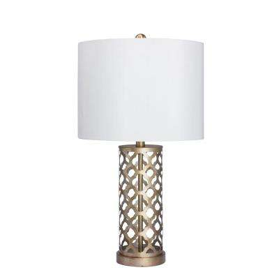 26 in. Muted Gold Moroccan Weave Metal Table Lamp