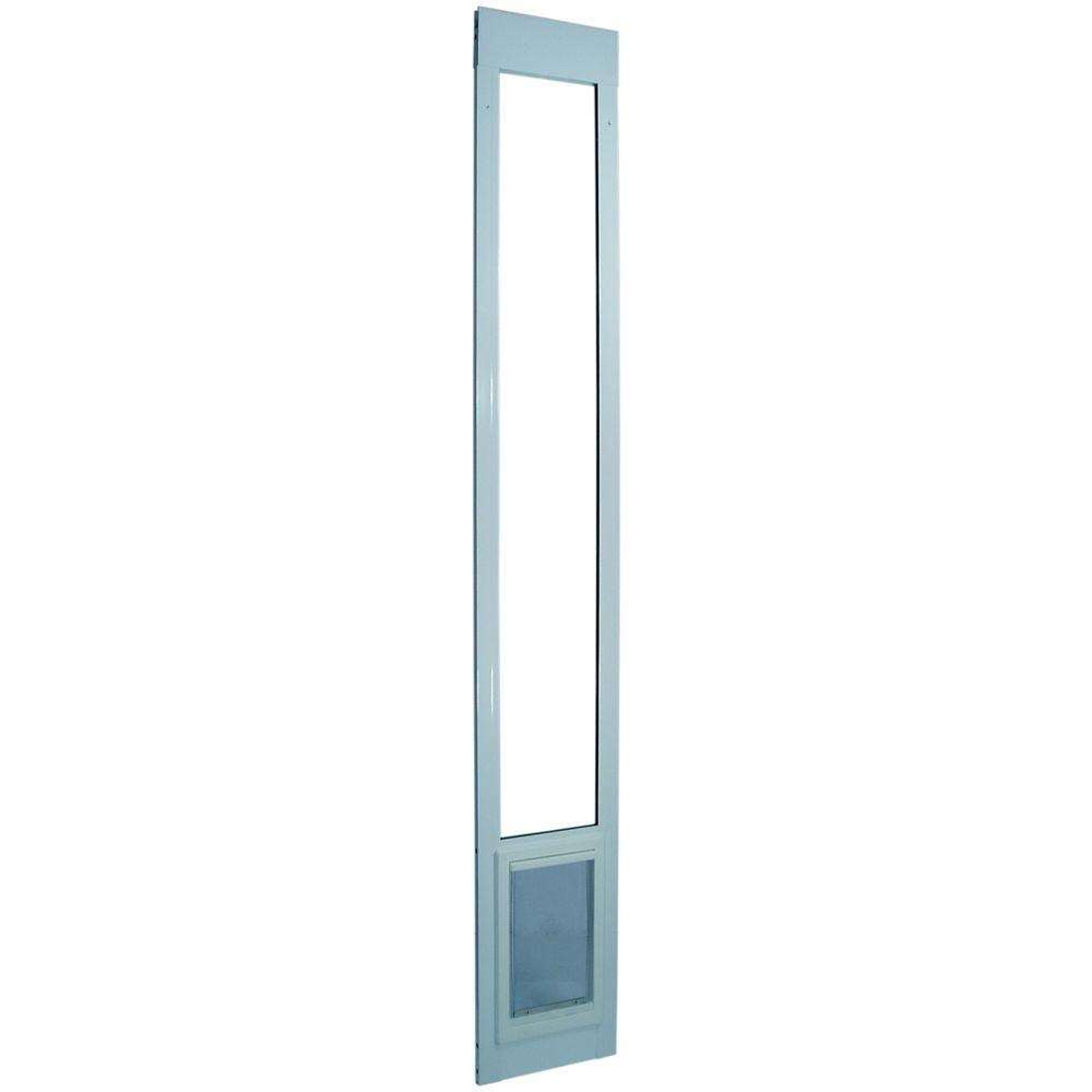 Ideal Pet 5 in. x 7 in. Small White Aluminum Pet Patio Door Fits 93.75 in. to 96.5 in. Tall Aluminum Slider