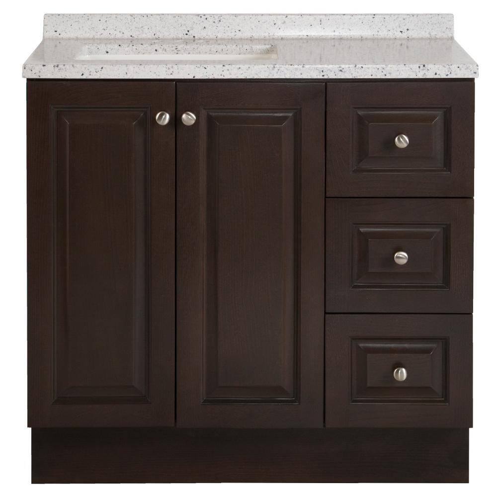 Glacier Bay Northwood 37 in. W x 19 in. D Bathroom Vanity in Dusk with Solid Surface Vanity Top in Silver Ash with White Sink