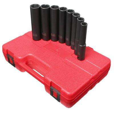 1/2 in. Drive Extra Deep SAE Impact Socket Set (8-Piece)