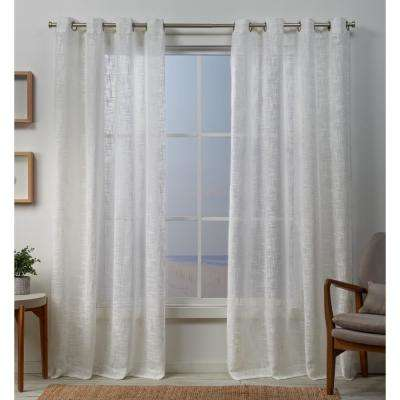 Sena 54 in. W x 96 in. L Sheer Grommet Top Curtain Panel in Snowflake (2 Panels)