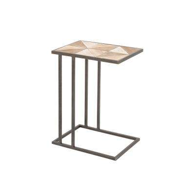 Light Brown Geometric Design Accent Table with Gray Iron Frame and Legs