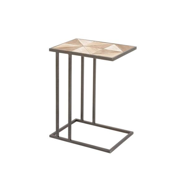 Litton Lane Light Brown Geometric Design Accent Table with Gray Iron