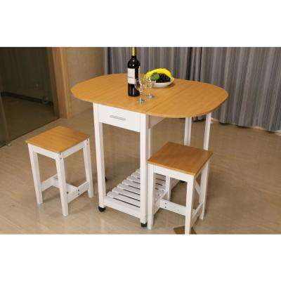 3 Piece White Kitchen Island Breakfast Bar Set With Casters And Drop Down  Island Table