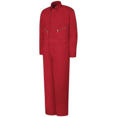 Men's Size 46 (Tall) Red Zip-Front Cotton Coverall