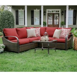 Trenton 4-Piece Wicker Outdoor Sectional Set with Red Cushions by