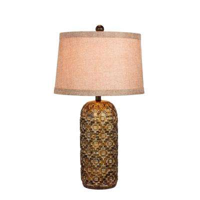 28.5 in. Tribal Marked Resin Table Lamp in a Antique Gold