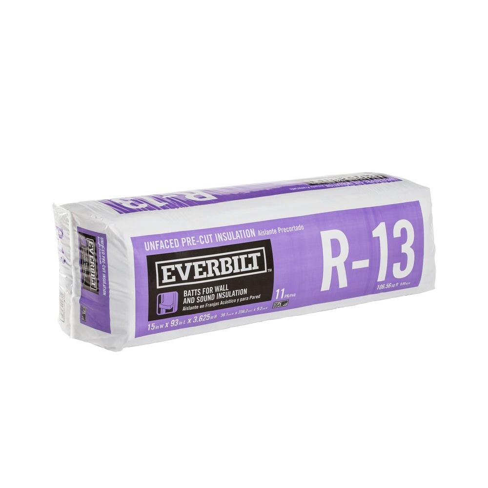 R-13 Unfaced Fiberglass Insulation Batt 15 in. x 93 in.