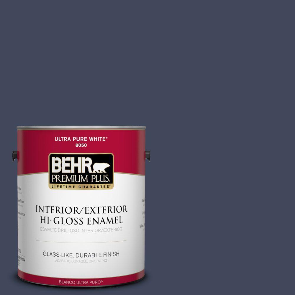 BEHR Premium Plus 1-gal. #S530-7 Dark Navy Hi-Gloss Enamel Interior/Exterior Paint