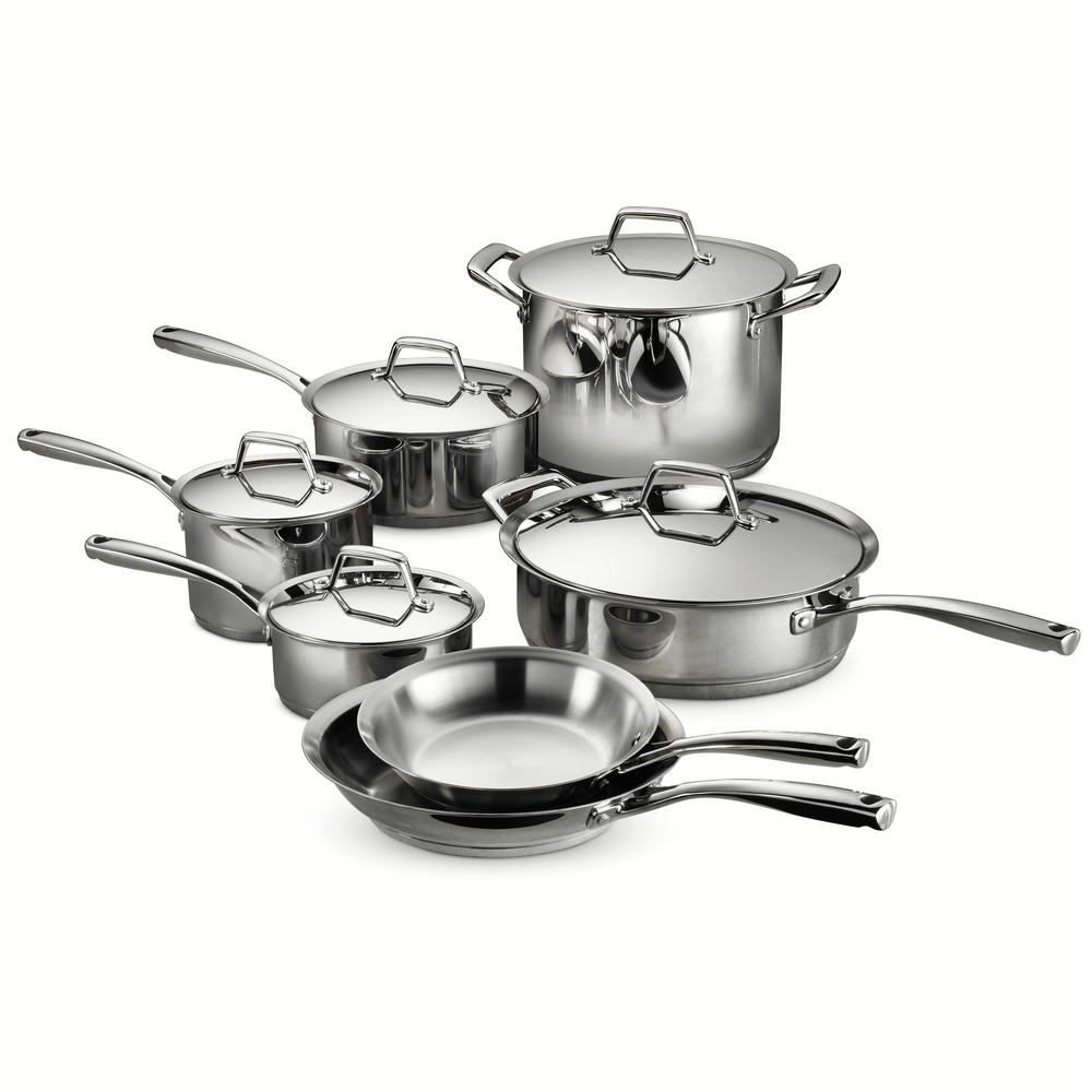 Gourmet Prima 12 Piece Stainless Steel Cookware Set With Lids, Silver/mirror Polished