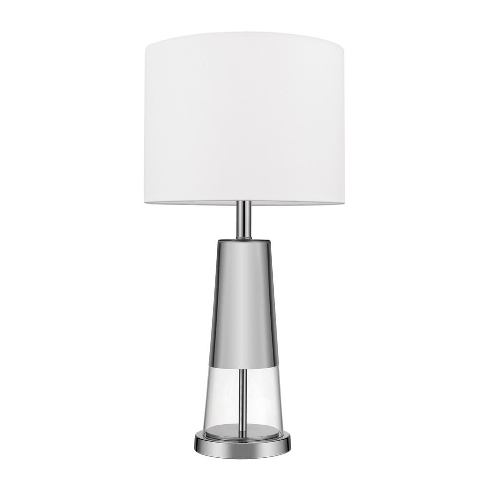 Globe Electric Grace 26 In. Chrome Finish, Glass Body Table Lamp With White  Shade