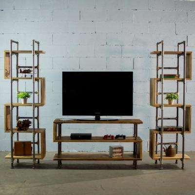 New Age 90 in. Natural Reclaimed Composite Entertainment Center Fits TVs Up to 57 in. with Media Cabinet