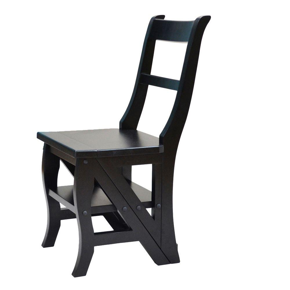 Carolina Cottage Antique Black Folding Library Ladder Chair-DISCONTINUED
