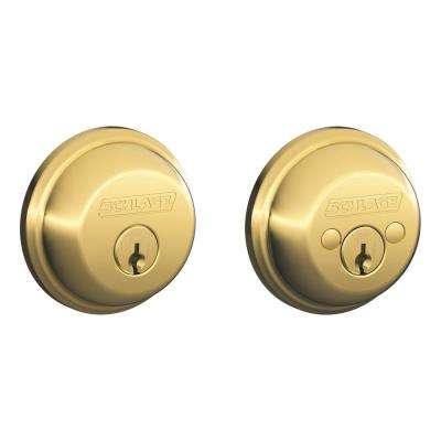 B60 Max Securty Double Cylinder Deadbolt Adjustable Backset in Brass