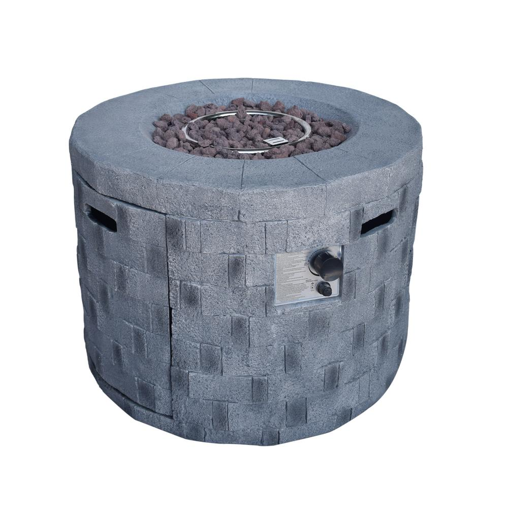 Noble House Cameron 32 in. x 23 in. Circular Concrete Propane Fire Pit in Gray