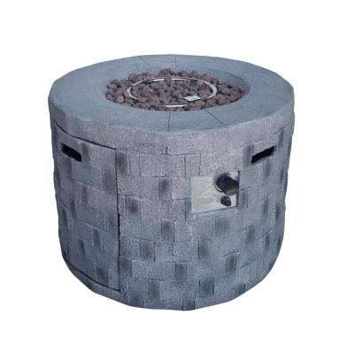 Cameron 32 in. x 23 in. Circular Concrete Propane Fire Pit in Gray
