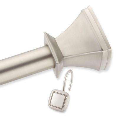 Square Decorative Shower Rod and Hooks Set in Brush Nickel