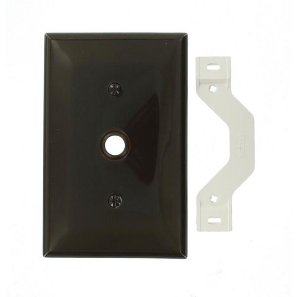 1-Gang Midway Size One 0.406 in. Dia Phone/Cable Opening Nylon Strap Mount Wall Plate in Brown