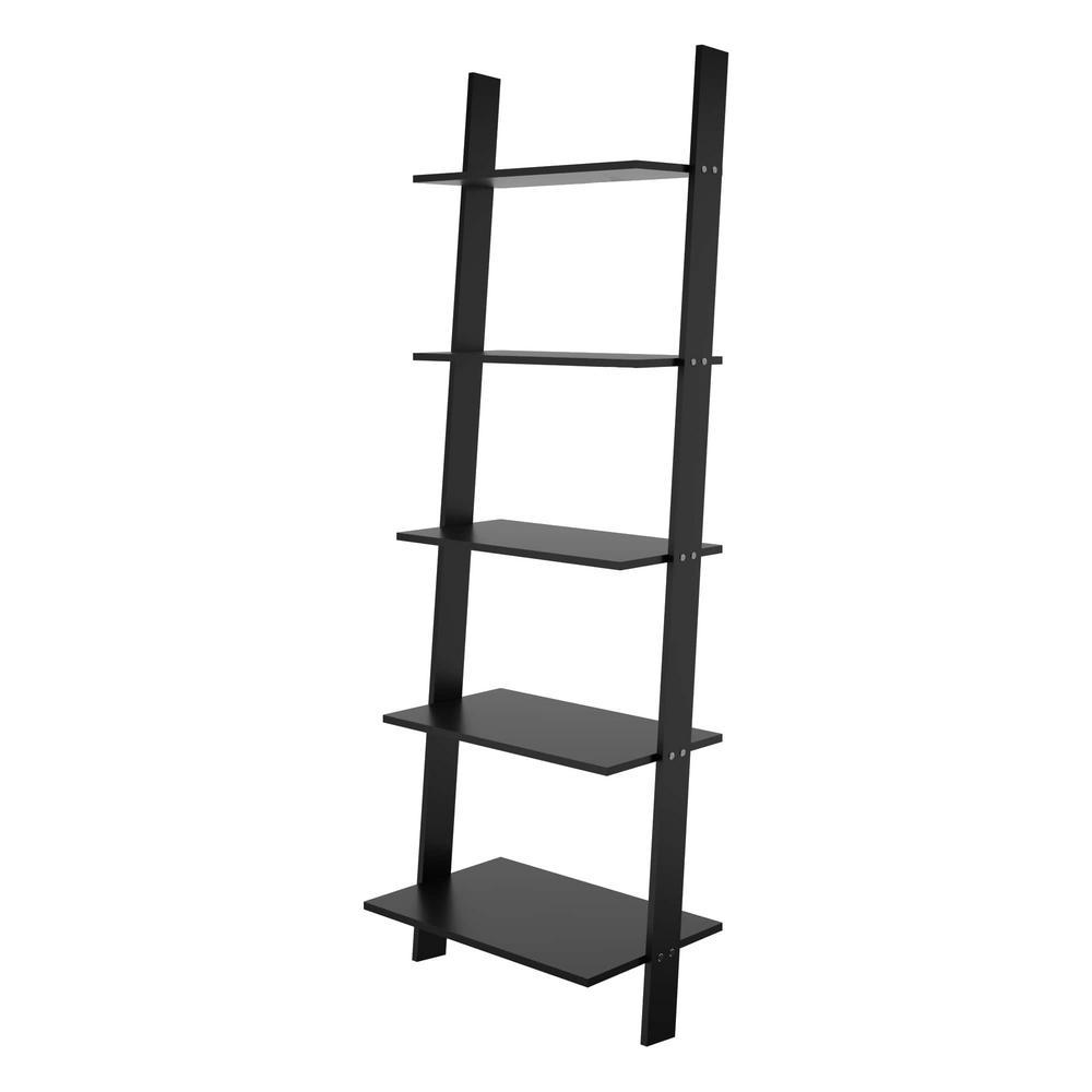 Cooper Black 5-Shelf Floating Ladder Bookcase