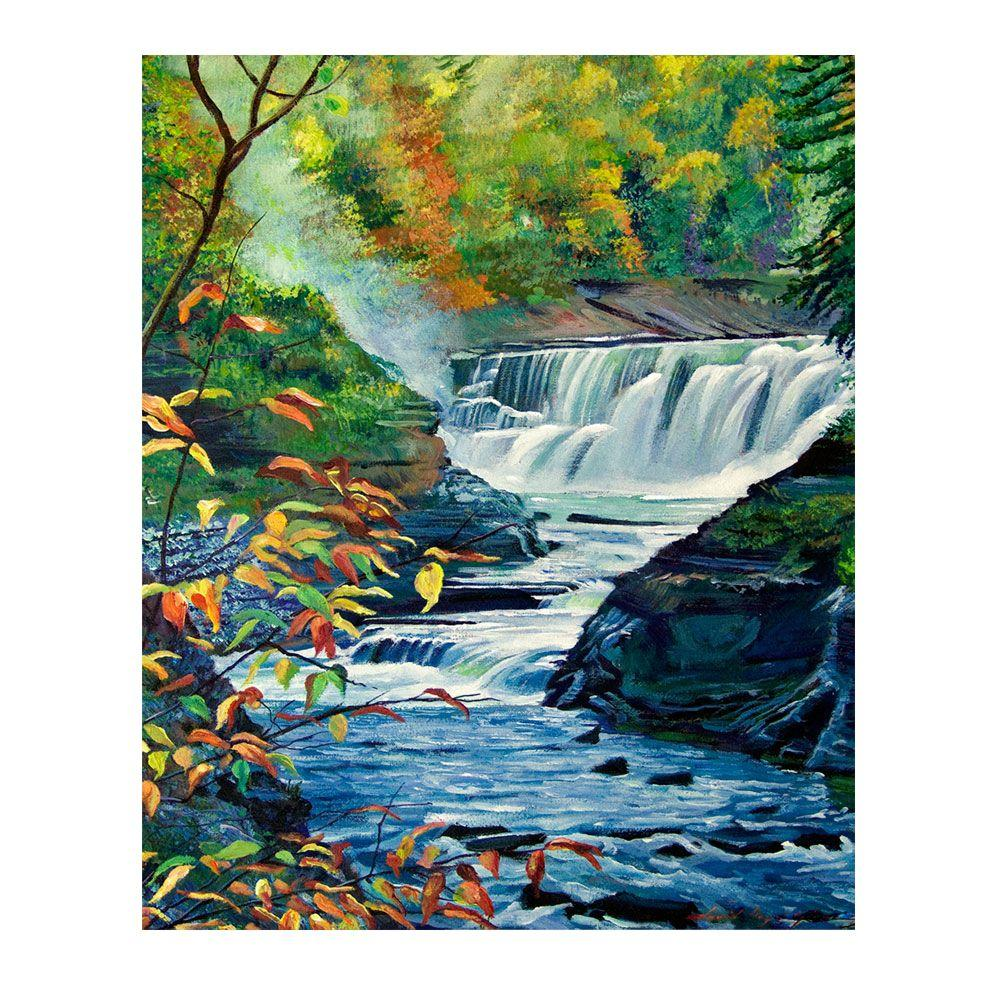 26 in. x 32 in. Geneese River in Autumn Canvas Art