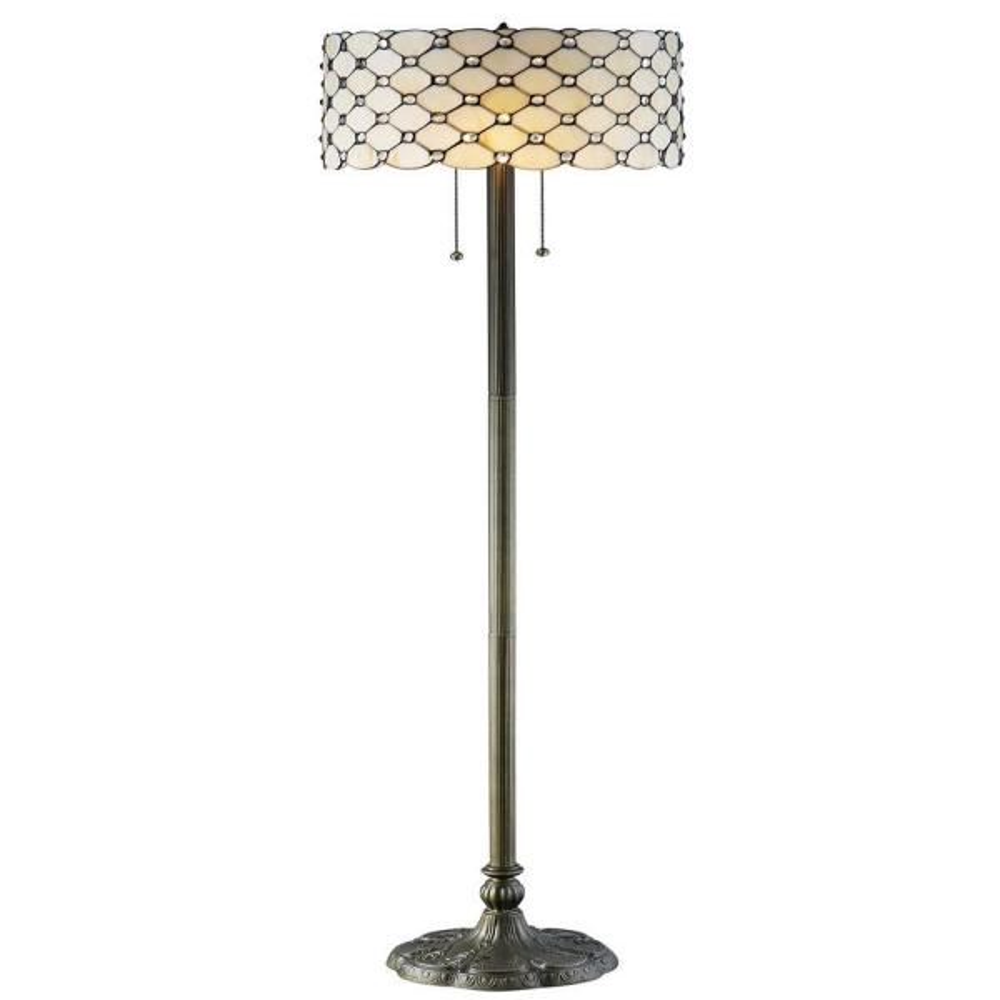 Tiffany Jeweled 60 in. Bronze Floor Lamp