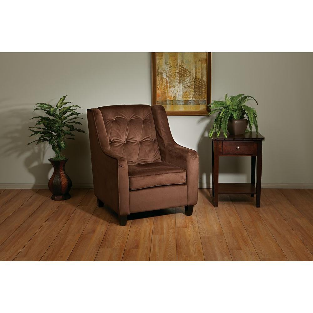 Ave Six Chocolate Velvet Tufted Arm Chair